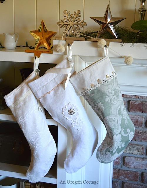Vintage Linen Christmas Stockings - An Oregon Cottage