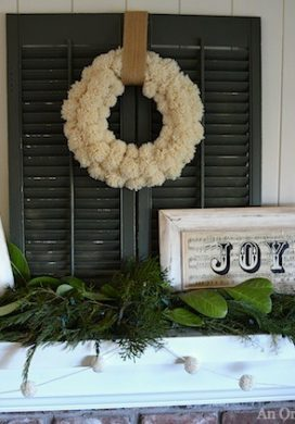 White and Green Christmas Mantel - An Oregon Cottage