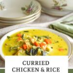 curried chicken-turkey-rice soup pin