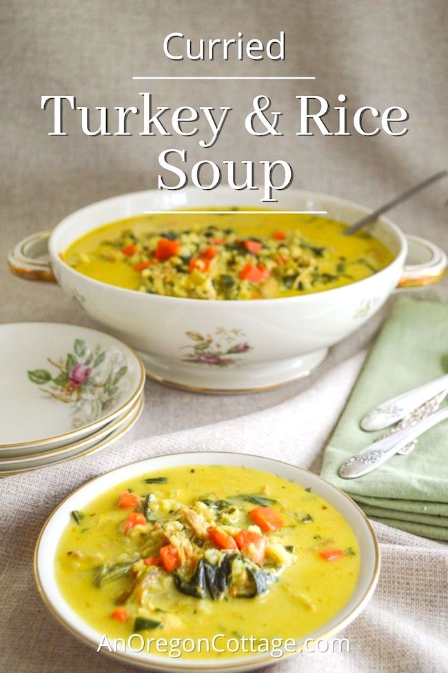 curried turkey-rice soup tureen and bowl
