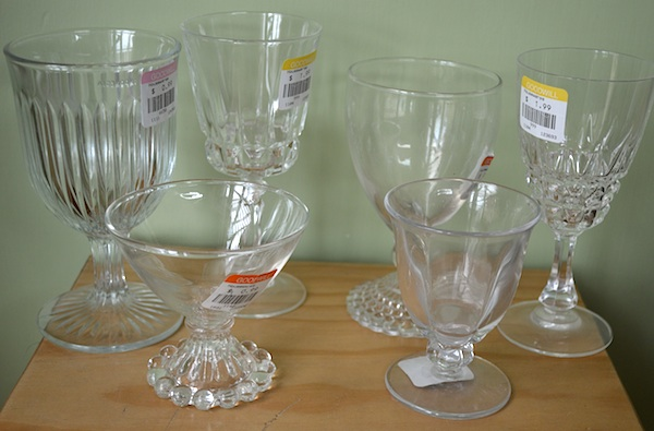 Thrift Store Glass Goblets Before - An Oregon Cottage