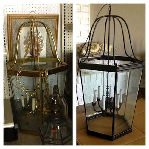 70s Brass Lantern Light Fixture ReBorn - The Happy Homebodies