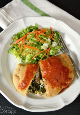 Easy Chicken Spinach Calzone on plate