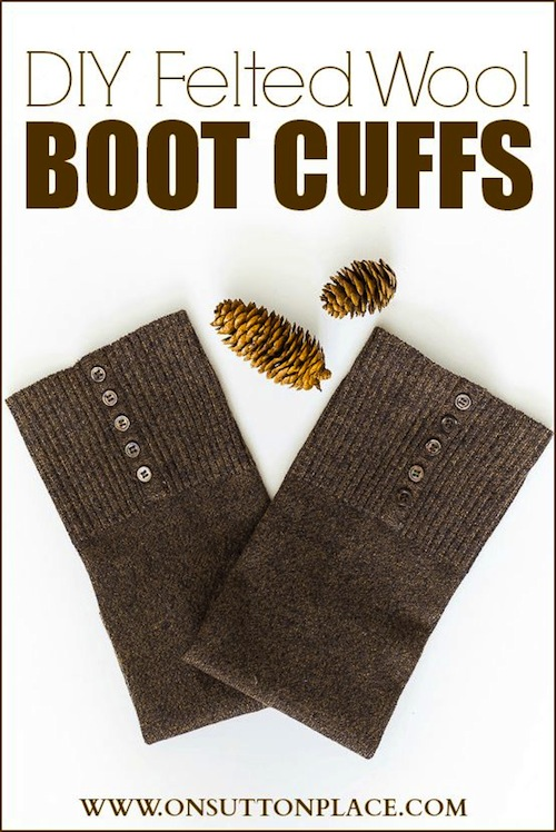 Felted Boot Cuffs From Old Sweater - On Sutton Place