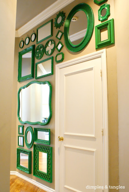 Green Thrifted Mirror Wall - Dimples and Tangles