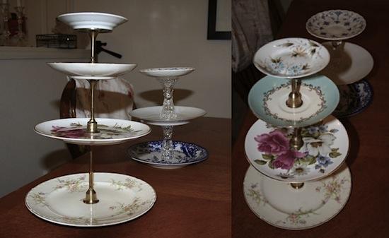 Thrift Store Plates Dessert Tower - Bargain Hoot