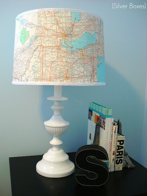 Thrifted Lamp with Map Shade - Silver Boxes
