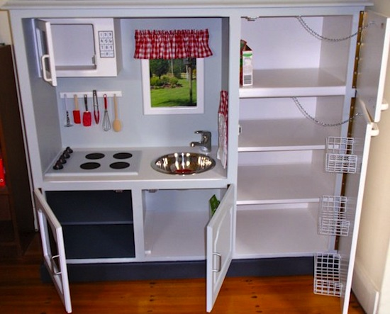 Ugly Entertainment Center to Cute Kit's Kitchen - GiggleBerryCreations