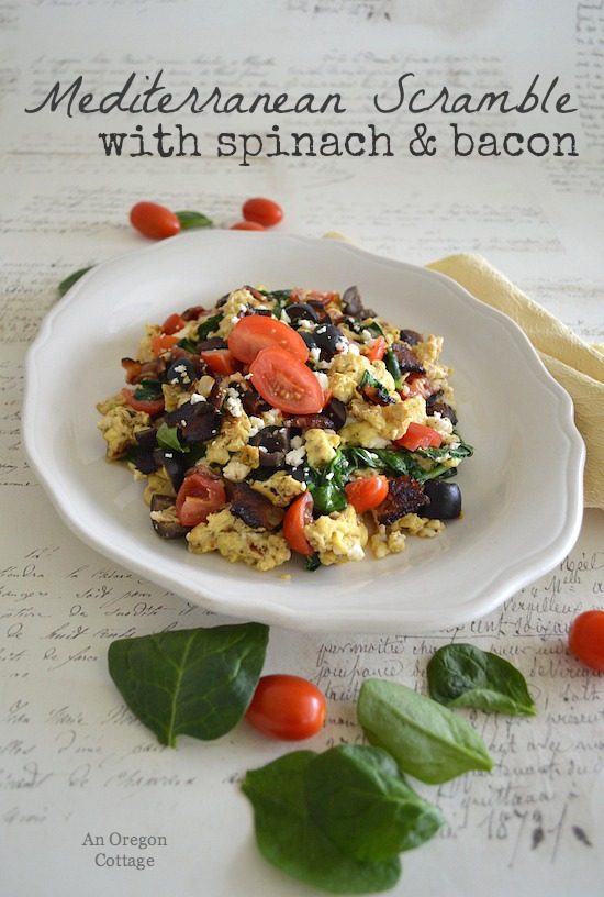 Mediterranean Scramble with Spinach & Bacon - An Oregon Cottage