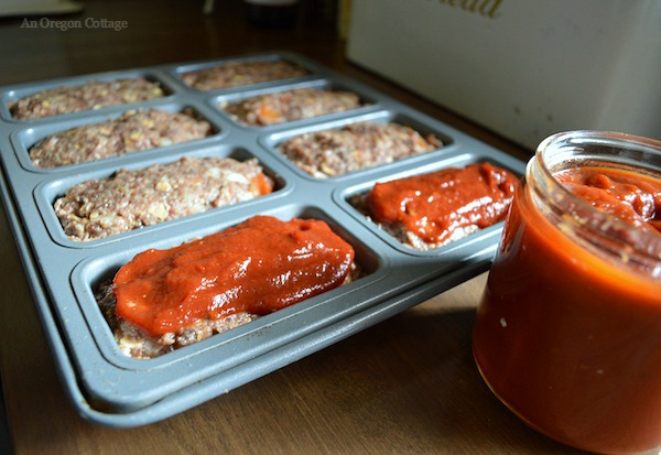 Mini Meatloaves Spread with Chipotle BBQ Sauce - An Oregon Cottage