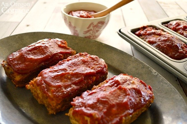 Mini Meatloaves with BBQ sauce on platter