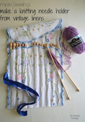 Vintage Linen Knitting Needle Holder Tutorial - An Oregon Cottage