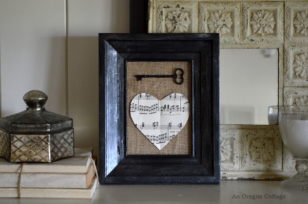 Vintage Valentine Mantel - Burlap Key to My Heart - An Oregon Cottage
