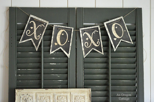 Vintage Valentine Mantel XO Banner - An Oregon Cottage