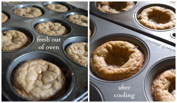 Chocolate Chip Cookie Cups Fresh From Oven and Cooled - An Oregon Cottage
