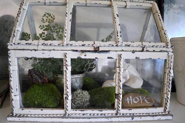 Eclectic Spring Mantel Terrarium - An Oregon Cottage
