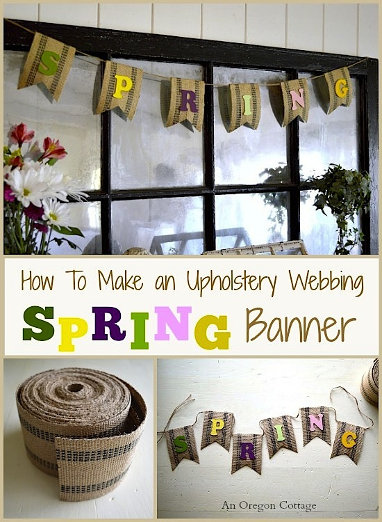 How to Make an Easy Upholstery Webbing Spring Banner - An Oregon Cottage