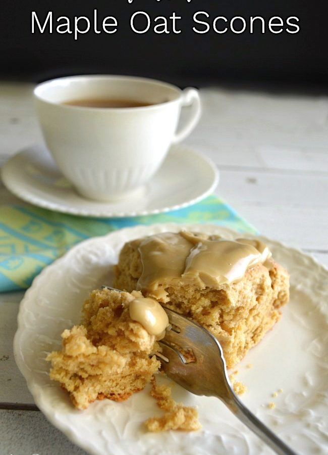Frosted Maple Oat Scone with tea