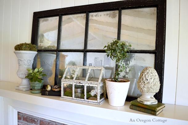 Green and White Garden Spring Mantel - An Oregon Cottage