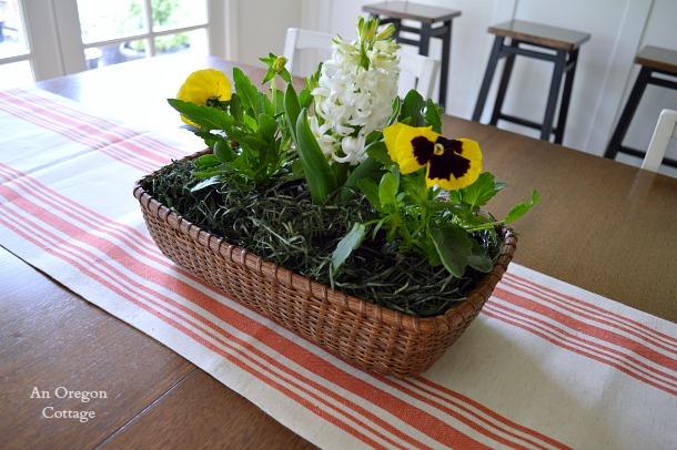 Simple Spring Pansy-Hyacinth Basket Centerpiece - An Oregon Cottage