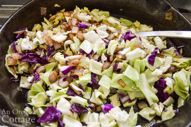 cabbage and onions cooking