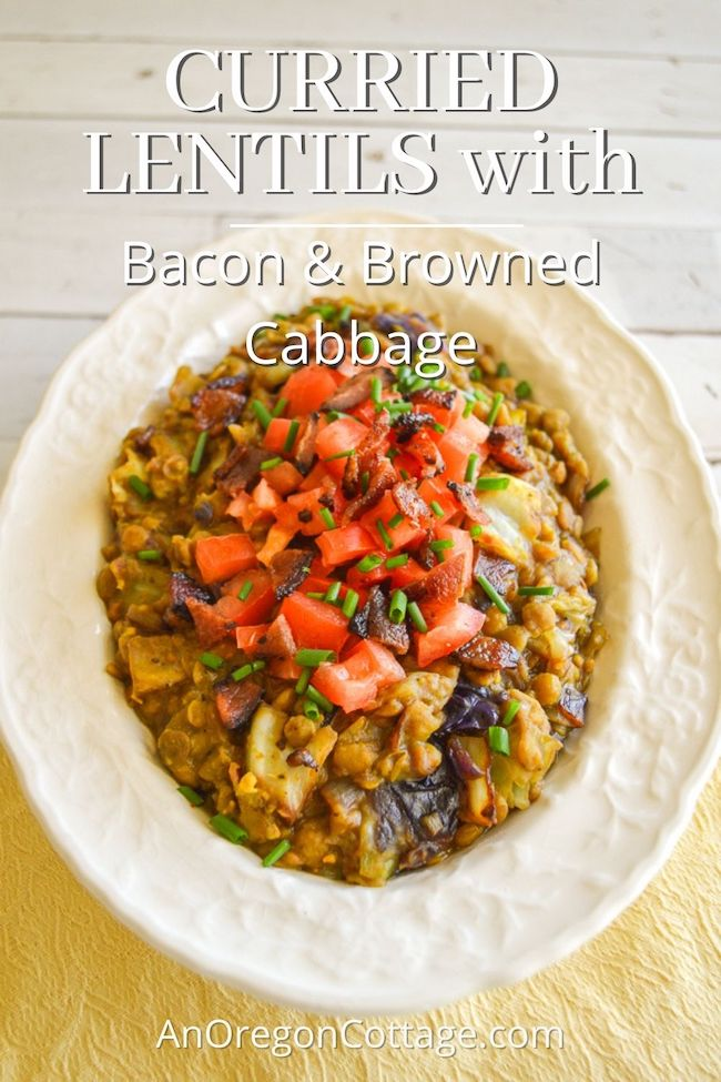 curried lentils-bacon-browned-cabbage in bowl