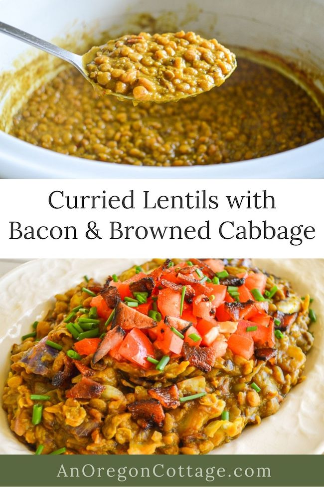 curried lentils-browned cabbage