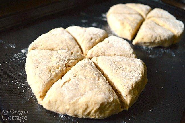 cut maple oat scone dough