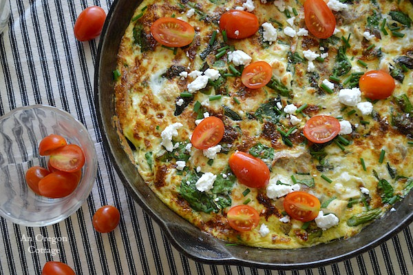 Perfect skillet weeknight dinner: Chicken-Spinach Frittata with Feta and Tomatoes | An Oregon Cottage