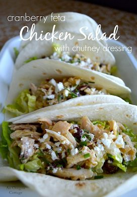 Cranberry Feta Chicken Salad with Chutney Dressing pin