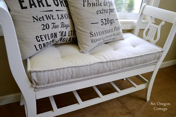 DIY Tufted French Mattress Cushion on Reclaimed Bench - An Oregon Cottage