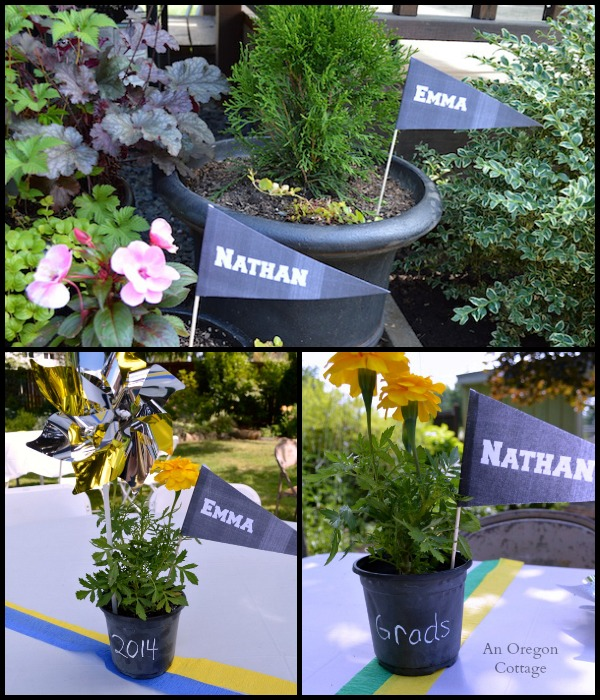 Chalkboard Grad Party Pennants and Centerpieces - An Oregon Cottage