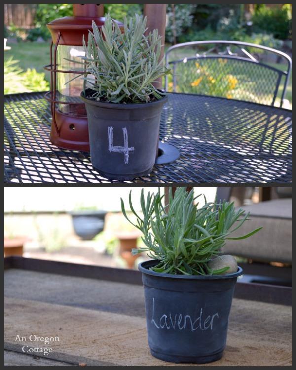 Dollar Store Chalkboard Pot Lavender Centerpieces - An Oregon Cottage