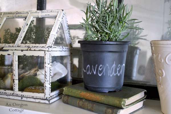 Dollar Store Chalkboard Pot Mantel Decor - An Oregon Cottage