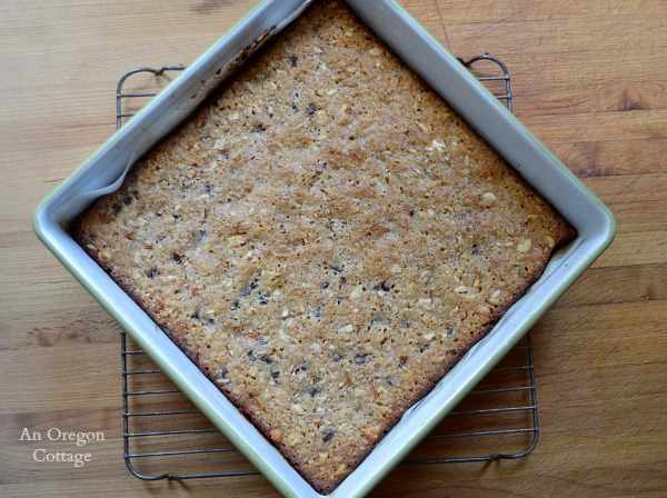 Flourless Coconut Almond Bars in enamel pan - An Oregon Cottage