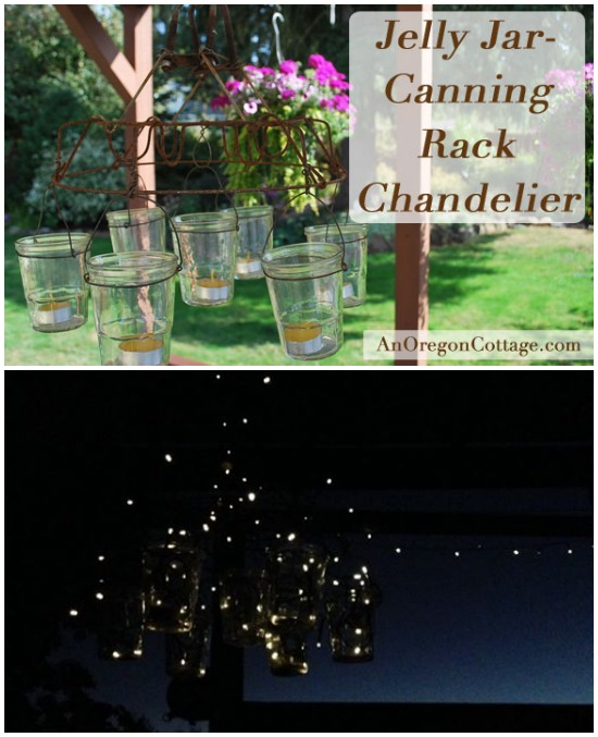 Jelly or Mason Jar Chandelier with Solar lights - An Oregon Cottage