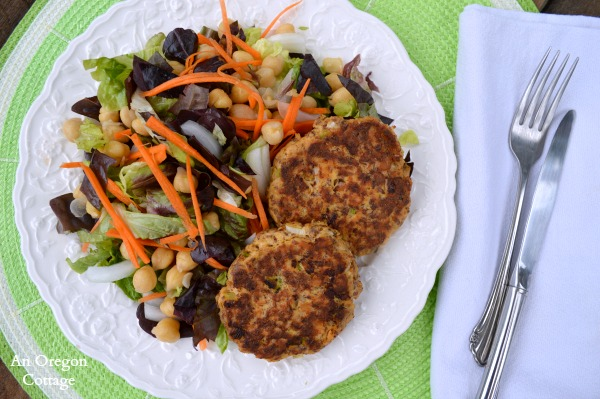 Salmon Patties with Flax and Garbanzo Bean Salad - An Oregon Cottage