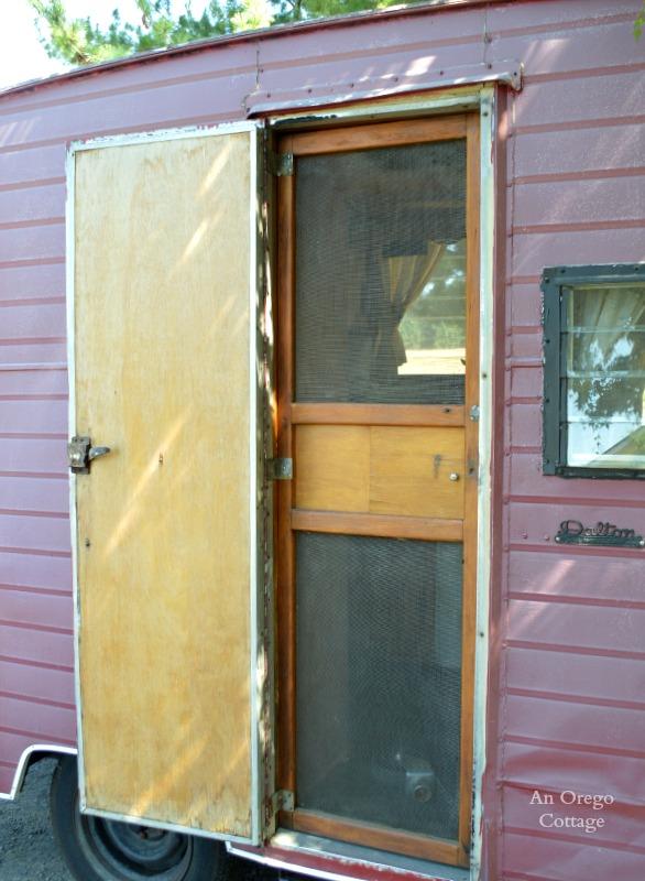 1957 Dalton Canned Ham Trailer Wood Screen Door - An Oregon Cottage