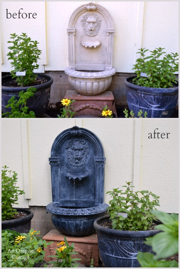 DIY Aged Plastic Fountain Before and After