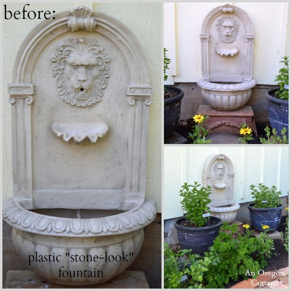 DIY Aged Plastic Fountain Before - An Oregon Cottage
