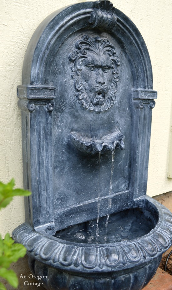 DIY Aged Plastic Fountain Side View - An Oregon Cottage