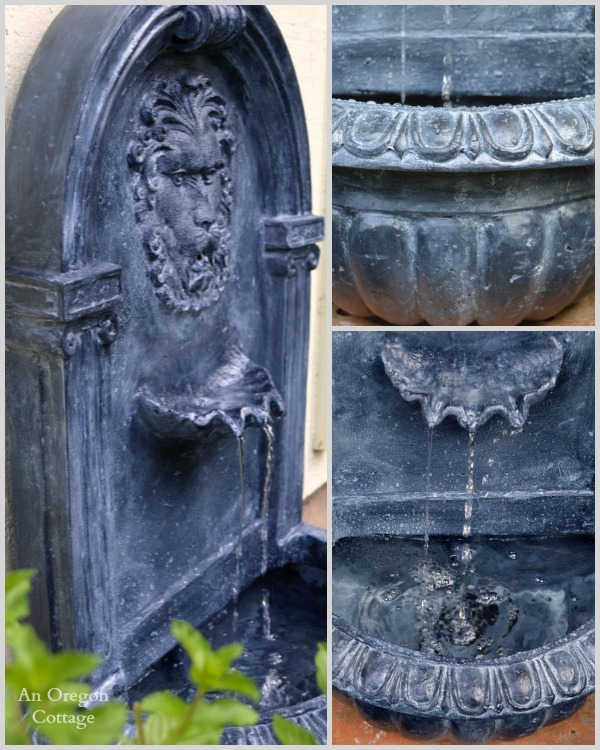 Easy DIY Aged Plastic Fountain After