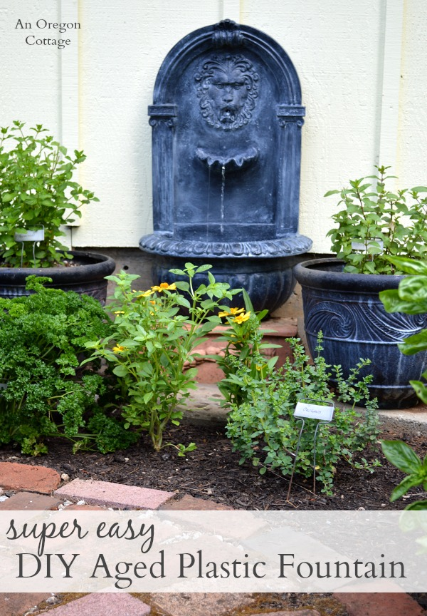 Easy DIY Aged Plastic Fountain in garden