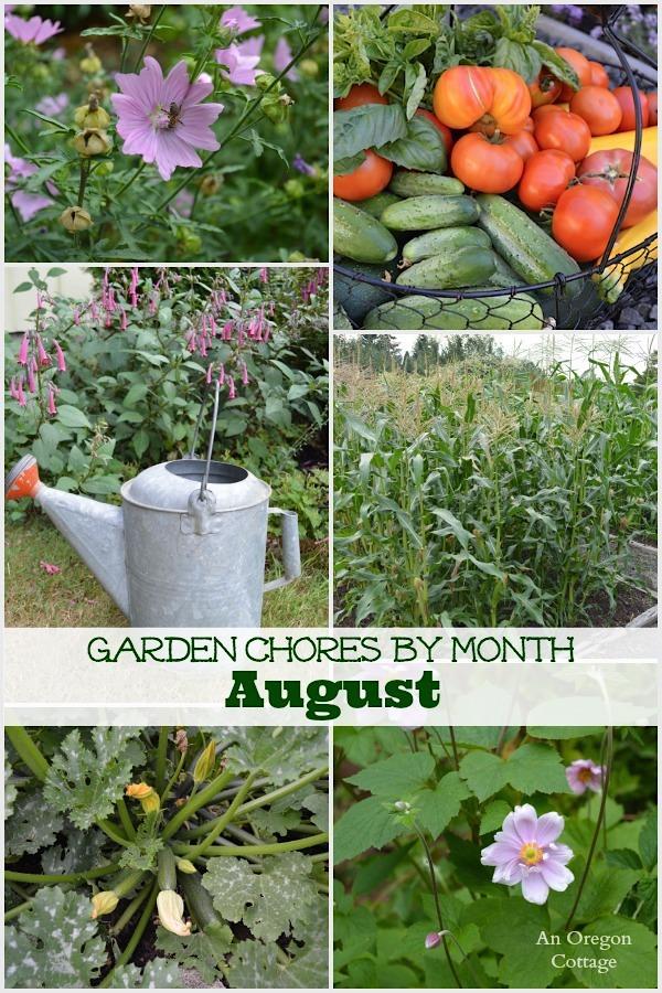 August Garden Chores collage