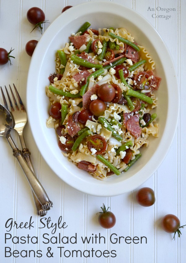 Greek Style Pasta Salad with Green Beans and Tomatoes - An Oregon Cottage