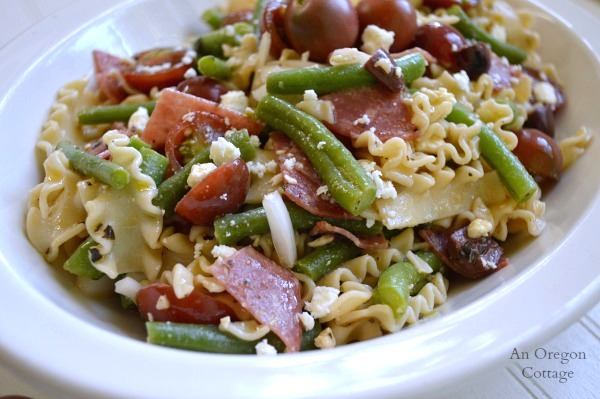 Greek Style Pasta Salad with Green Beans, Tomatoes, Salami and Feta - An Oregon Cottage
