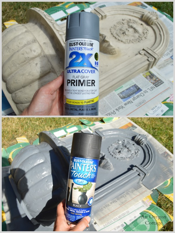 Priming and Painting DIY Aged Plastic Fountain