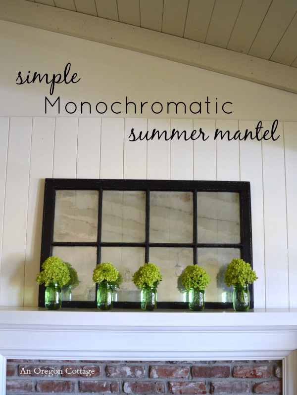 Simple Monochromatic Hydrangea Summer Mantel - An Oregon Cottage