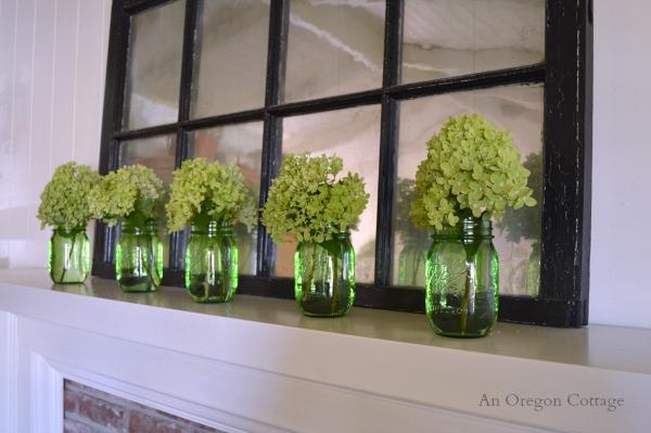 Simple Summer Mason Jar and Hydrangea Mantel - An Oregon Cottage