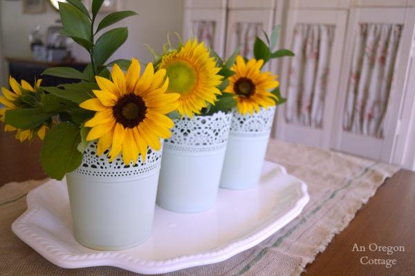 Sunflower-Ikea Container Centerpiece - An Oregon Cottage